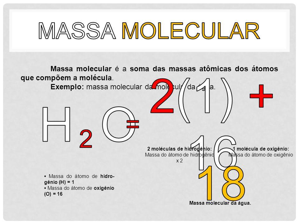 Massa molecular é a soma das massas atômicas dos átomos que compõem a molécula. Exemplo: massa molecular da molécula da água. Massa do átomo de hidro-