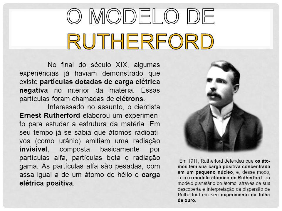 Usando partículas alfa emitidas por um metal radioativo, Rutherford bombardeou uma folha muito fina de ouro, quase transparente.