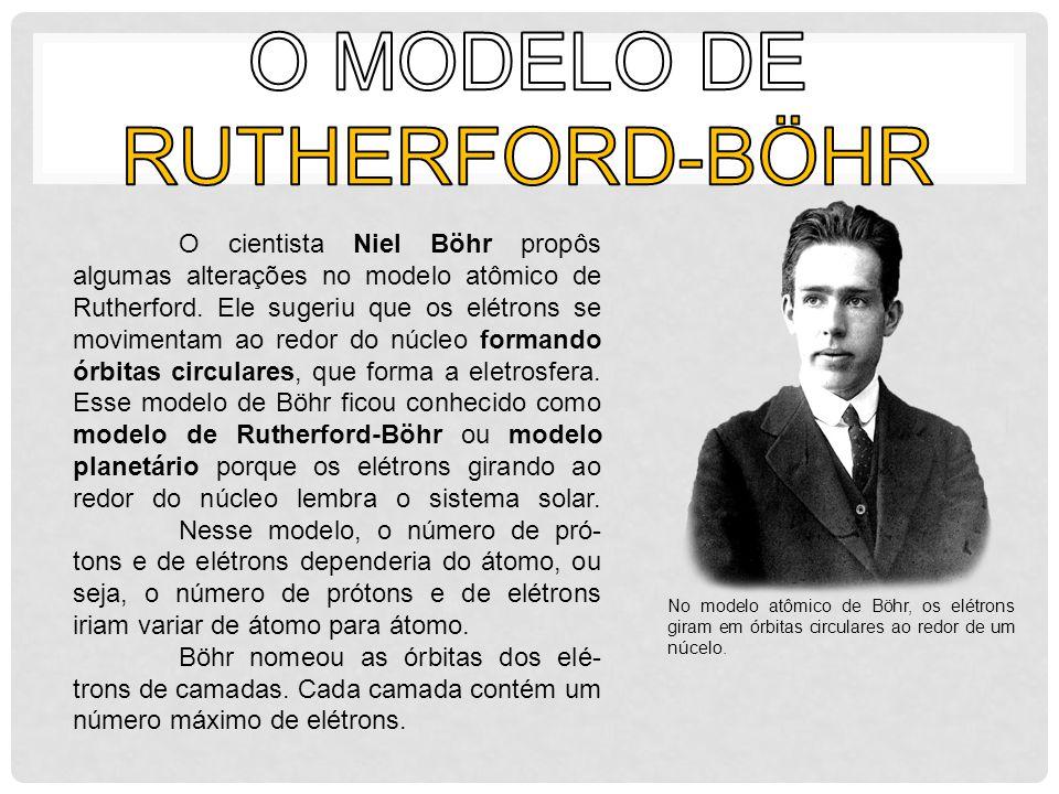 O cientista Niel Böhr propôs algumas alterações no modelo atômico de Rutherford. Ele sugeriu que os elétrons se movimentam ao redor do núcleo formando