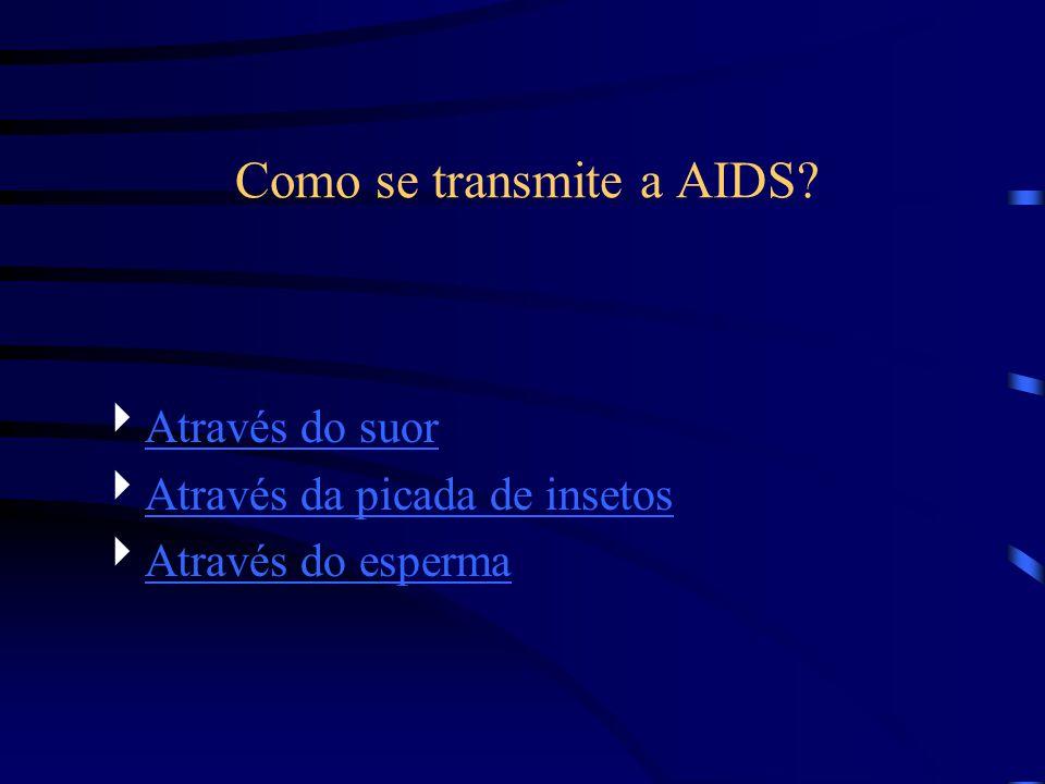Como se transmite a AIDS? Através do suor Através da picada de insetos Através do esperma