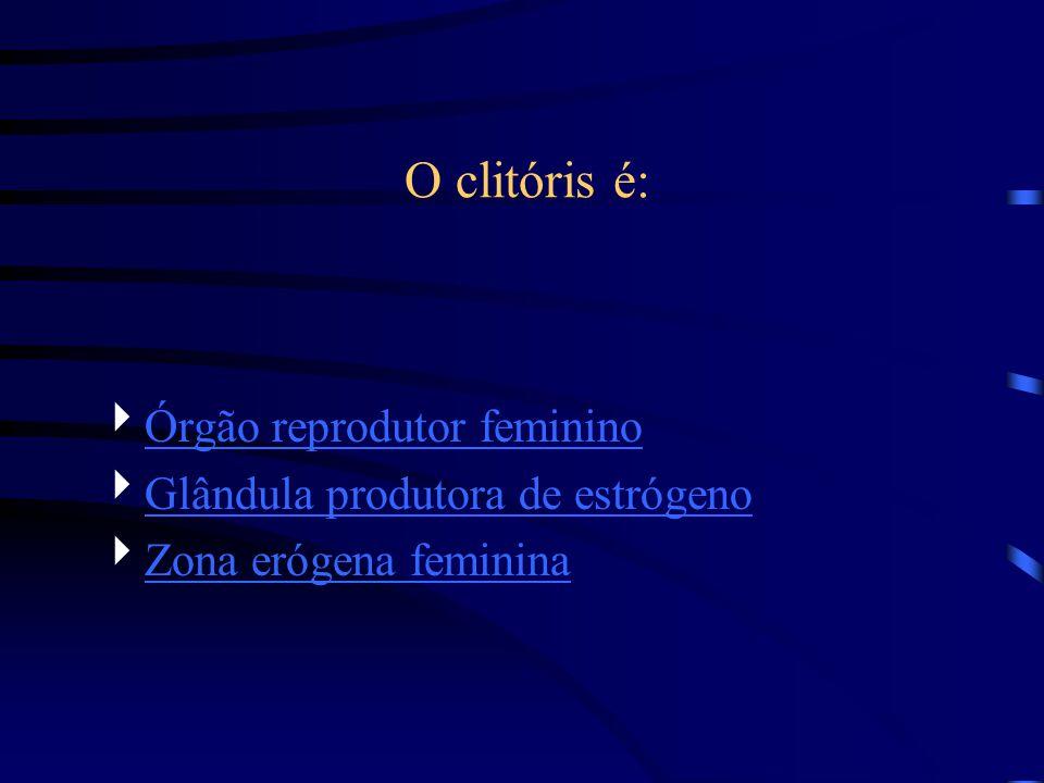 O clitóris é: Órgão reprodutor feminino Glândula produtora de estrógeno Zona erógena feminina