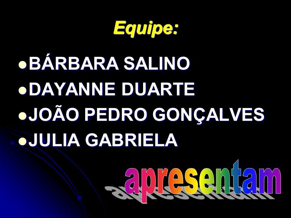 Equipe: BÁRBARA SALINO DAYANNE DUARTE JOÃO PEDRO GONÇALVES JULIA GABRIELA
