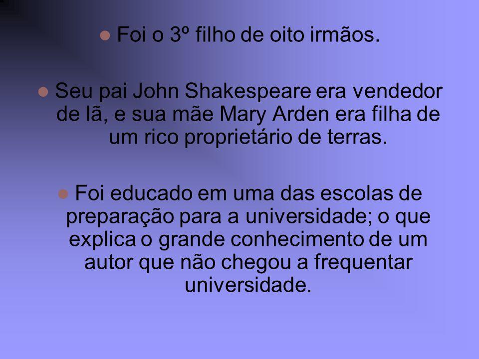 Foi o 3º filho de oito irmãos. Seu pai John Shakespeare era vendedor de lã, e sua mãe Mary Arden era filha de um rico proprietário de terras. Foi educ