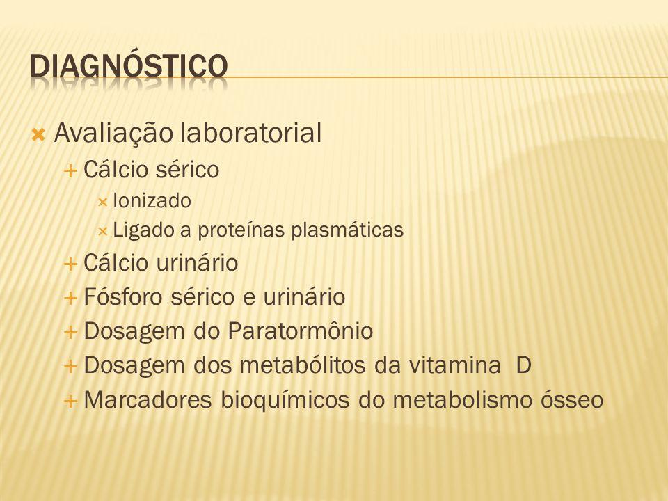 Avaliação laboratorial Cálcio sérico Ionizado Ligado a proteínas plasmáticas Cálcio urinário Fósforo sérico e urinário Dosagem do Paratormônio Dosagem