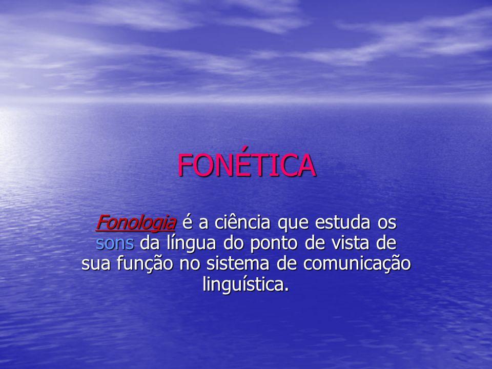 FONÉTICA Fonologia é a ciência que estuda os sons da língua do ponto de vista de sua função no sistema de comunicação linguística.