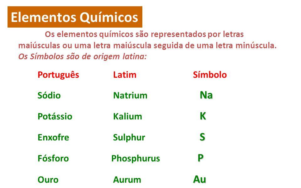 Elementos Químicos Os elementos químicos são representados por letras maiúsculas ou uma letra maiúscula seguida de uma letra minúscula.