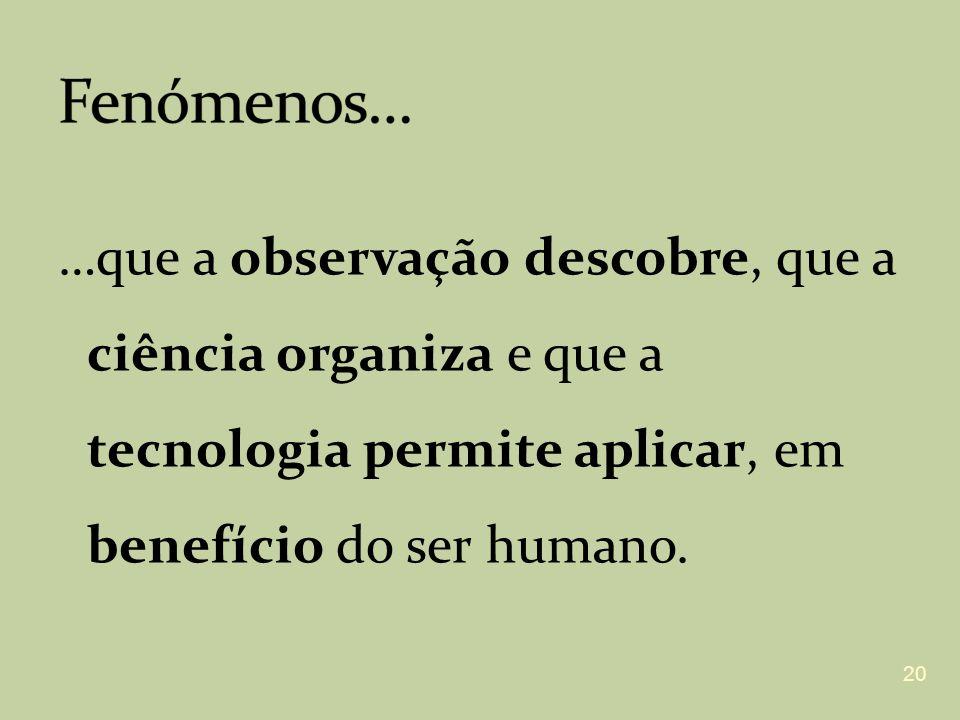 …que a observação descobre, que a ciência organiza e que a tecnologia permite aplicar, em benefício do ser humano. 20