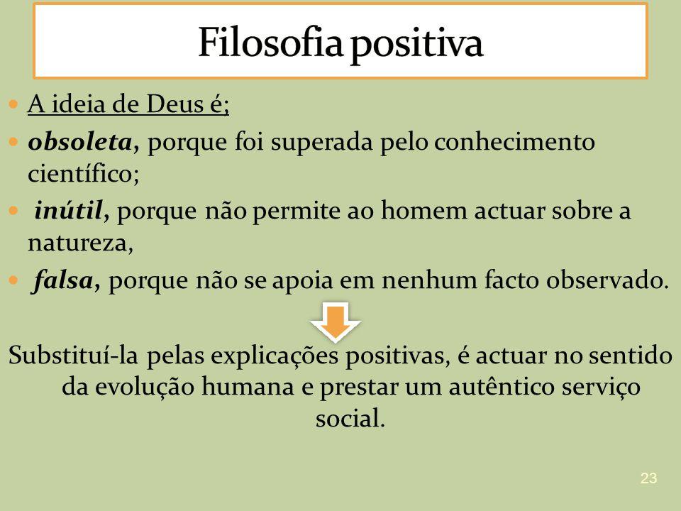 A ideia de Deus é; obsoleta, porque foi superada pelo conhecimento científico; inútil, porque não permite ao homem actuar sobre a natureza, falsa, por
