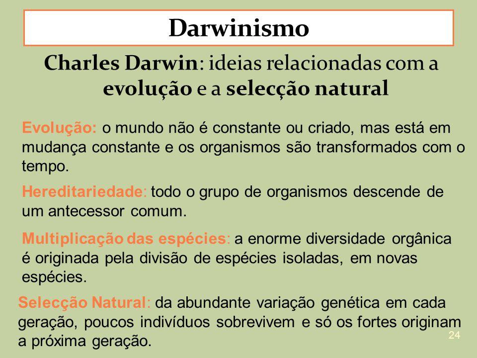 Charles Darwin: ideias relacionadas com a evolução e a selecção natural Evolução: o mundo não é constante ou criado, mas está em mudança constante e o