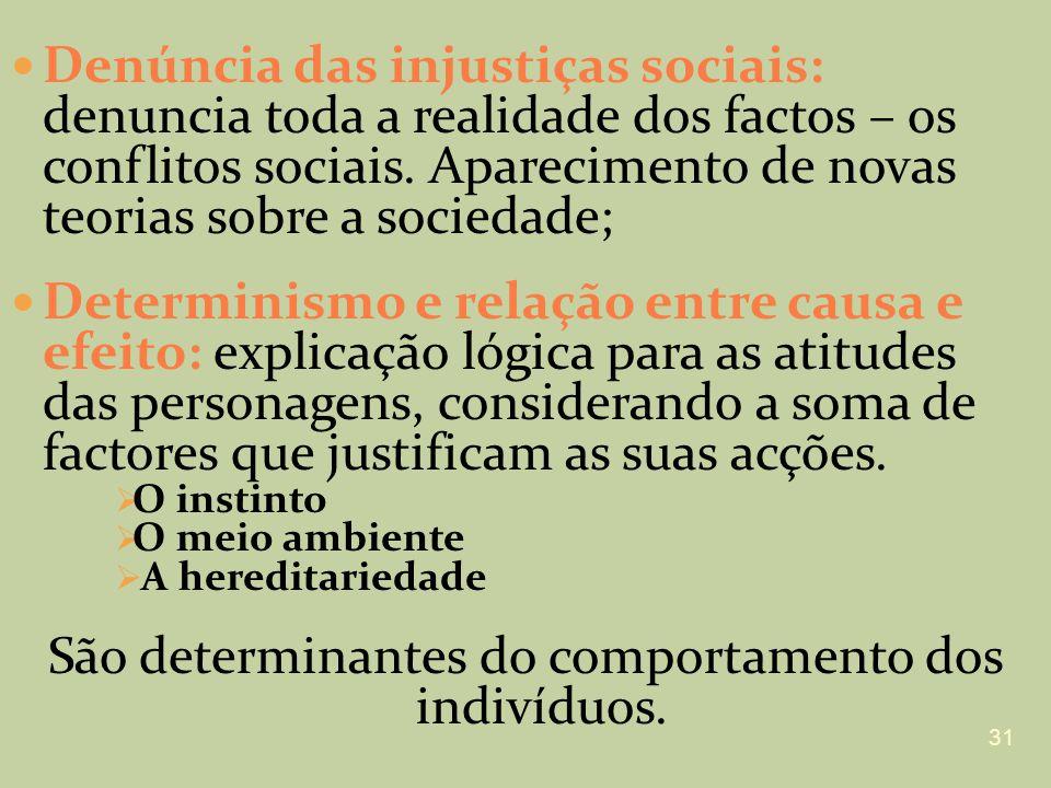 Denúncia das injustiças sociais: denuncia toda a realidade dos factos – os conflitos sociais. Aparecimento de novas teorias sobre a sociedade; Determi