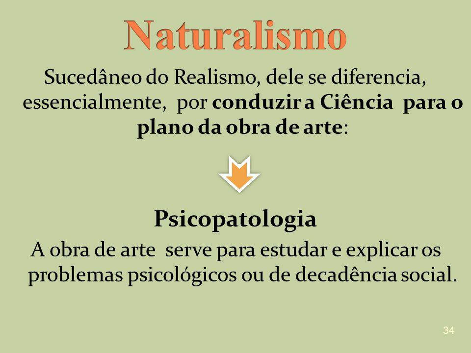 Sucedâneo do Realismo, dele se diferencia, essencialmente, por conduzir a Ciência para o plano da obra de arte: Psicopatologia A obra de arte serve pa