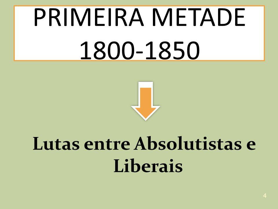 Lutas entre Absolutistas e Liberais PRIMEIRA METADE 1800-1850 4