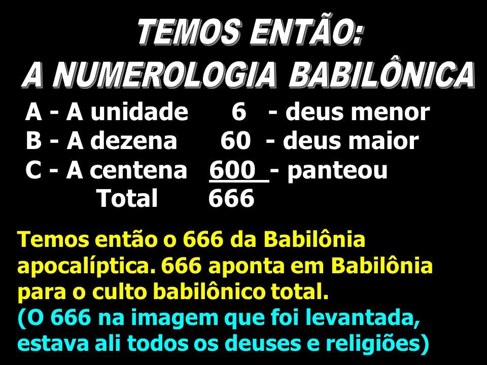 A - A unidade 6 - deus menor B - A dezena 60 - deus maior C - A centena 600 - panteou Total 666 Temos então o 666 da Babilônia apocalíptica. 666 apont