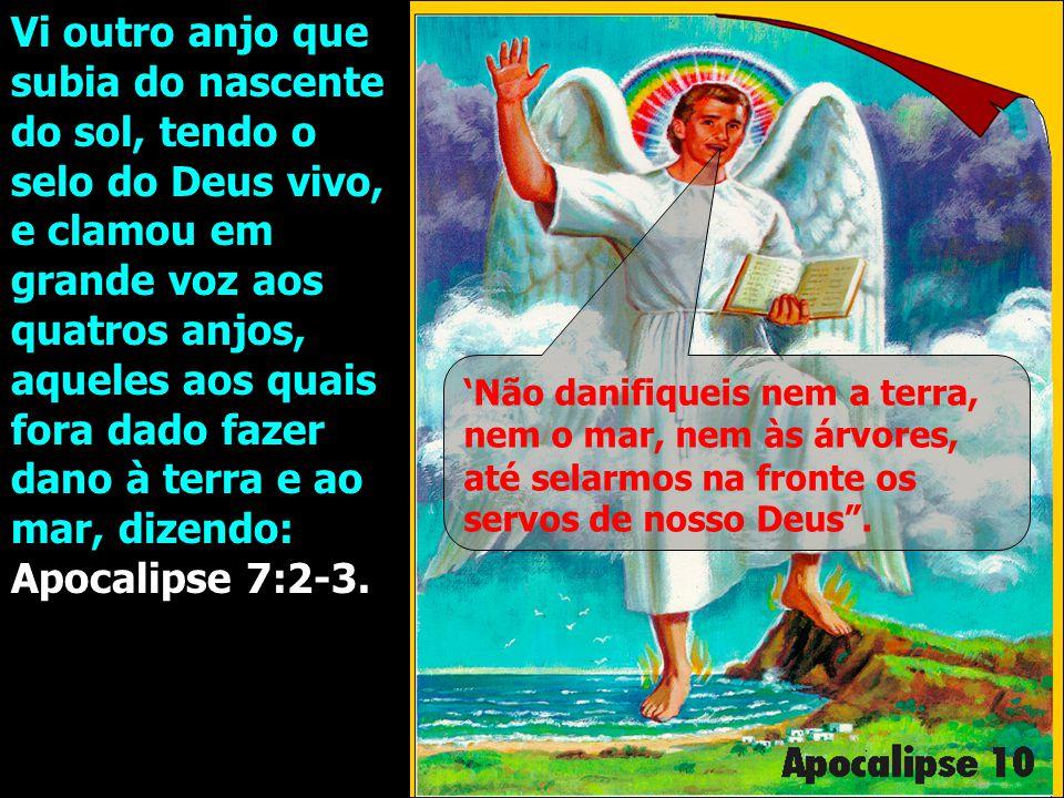 Vi outro anjo que subia do nascente do sol, tendo o selo do Deus vivo, e clamou em grande voz aos quatros anjos, aqueles aos quais fora dado fazer dan