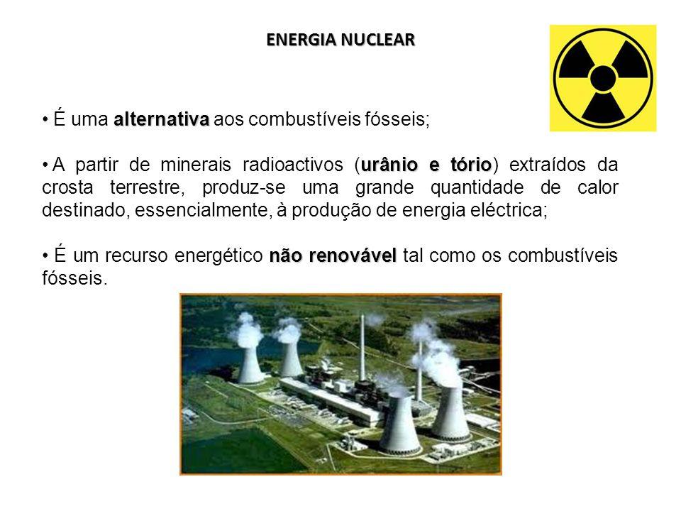ENERGIA NUCLEAR alternativa É uma alternativa aos combustíveis fósseis; urânio e tório A partir de minerais radioactivos (urânio e tório) extraídos da