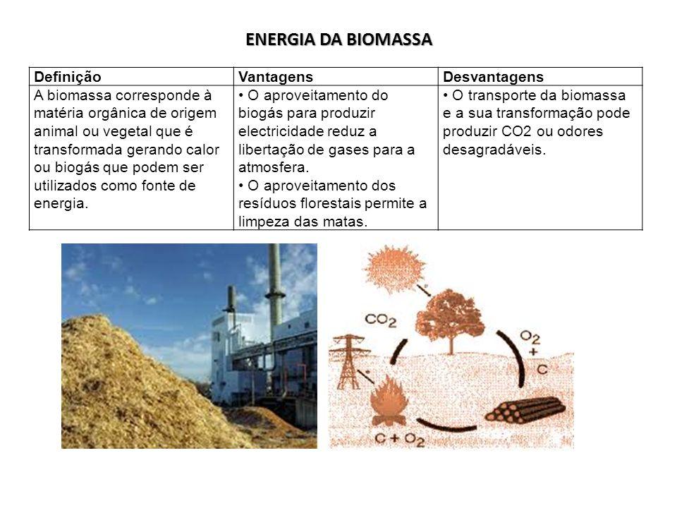 ENERGIA DA BIOMASSA DefiniçãoVantagensDesvantagens A biomassa corresponde à matéria orgânica de origem animal ou vegetal que é transformada gerando ca