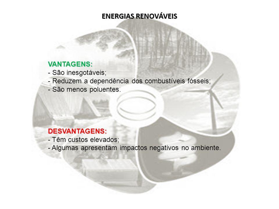 ENERGIAS RENOVÁVEIS VANTAGENS: - São inesgotáveis; - Reduzem a dependência dos combustíveis fósseis; - São menos poluentes.DESVANTAGENS: - Têm custos
