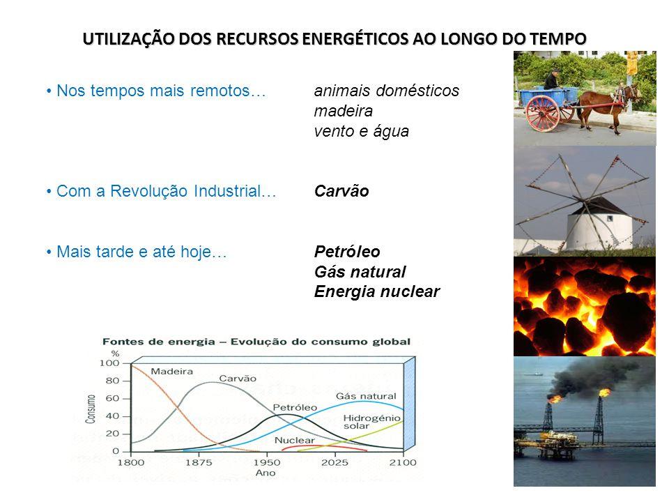 UTILIZAÇÃO DOS RECURSOS ENERGÉTICOS AO LONGO DO TEMPO Nos tempos mais remotos…animais domésticos madeira vento e água Com a Revolução Industrial…Carvã