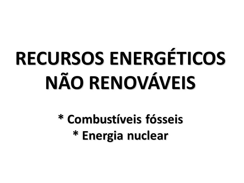 RECURSOS ENERGÉTICOS NÃO RENOVÁVEIS * Combustíveis fósseis * Energia nuclear