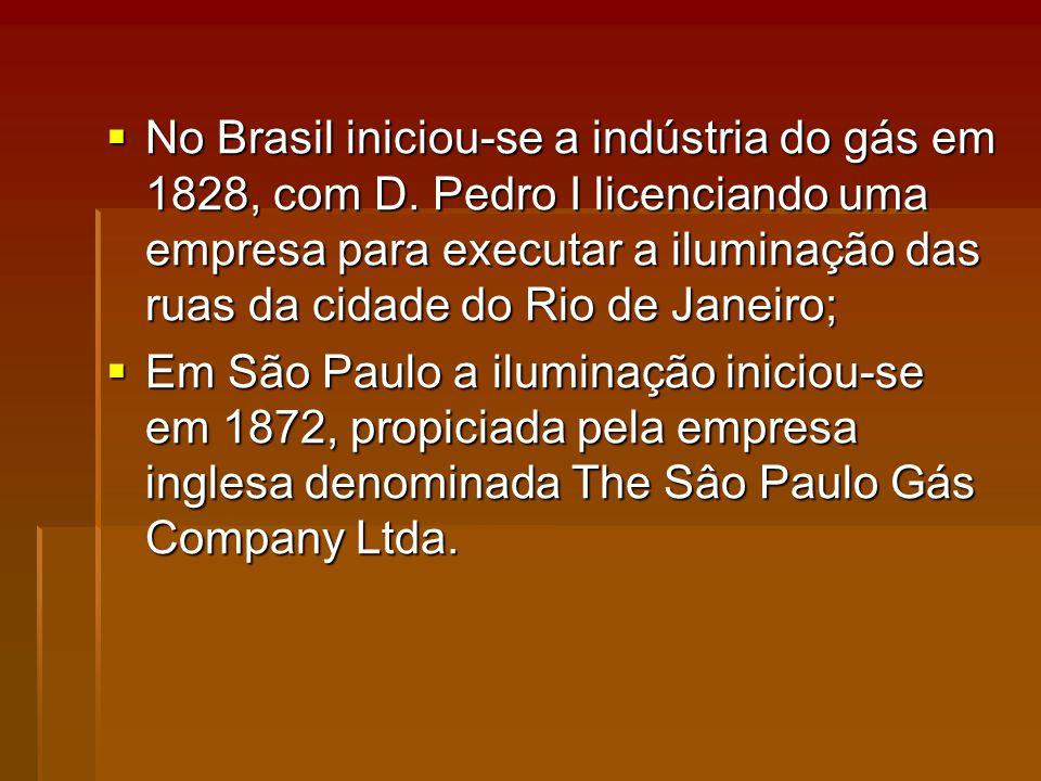 No Brasil iniciou-se a indústria do gás em 1828, com D.