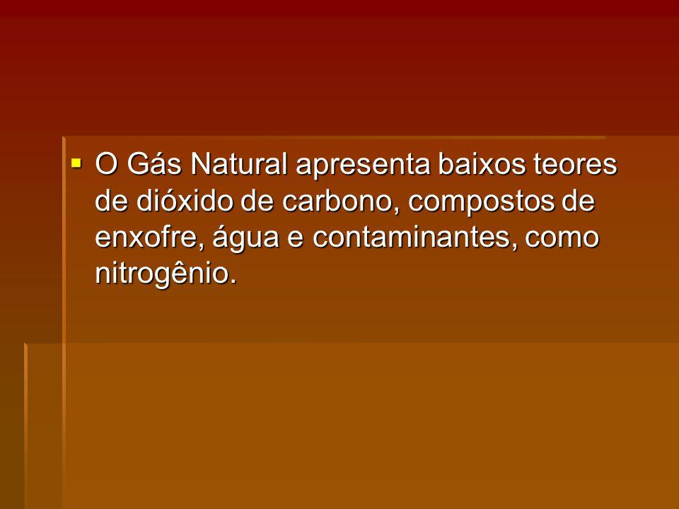 O Gás Natural apresenta baixos teores de dióxido de carbono, compostos de enxofre, água e contaminantes, como nitrogênio.