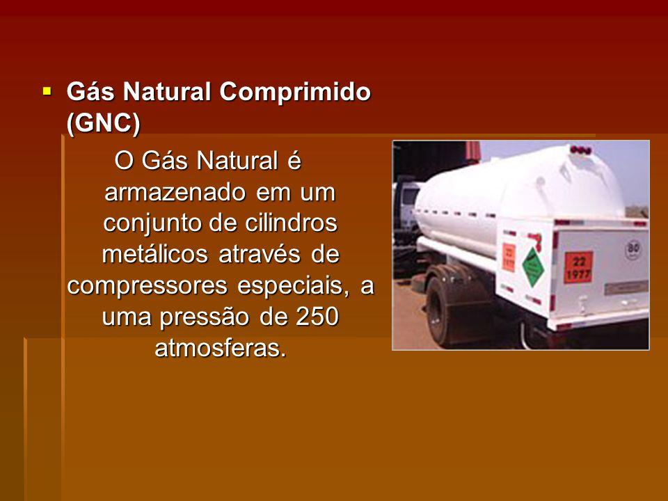 Gás Natural Comprimido (GNC) Gás Natural Comprimido (GNC) O Gás Natural é armazenado em um conjunto de cilindros metálicos através de compressores especiais, a uma pressão de 250 atmosferas.
