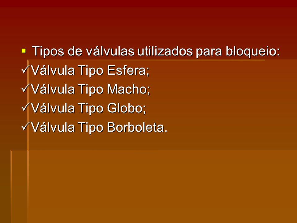 Tipos de válvulas utilizados para bloqueio: Tipos de válvulas utilizados para bloqueio: Válvula Tipo Esfera; Válvula Tipo Esfera; Válvula Tipo Macho; Válvula Tipo Macho; Válvula Tipo Globo; Válvula Tipo Globo; Válvula Tipo Borboleta.