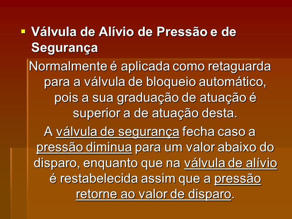 Válvula de Alívio de Pressão e de Segurança Válvula de Alívio de Pressão e de Segurança Normalmente é aplicada como retaguarda para a válvula de bloqueio automático, pois a sua graduação de atuação é superior a de atuação desta.