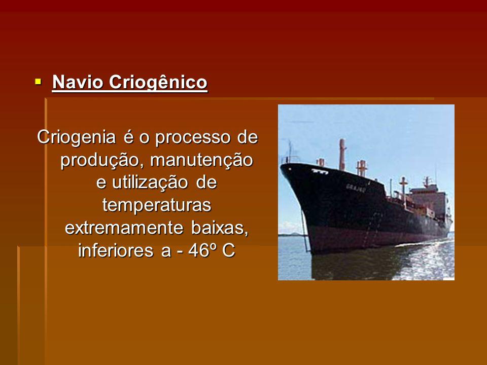 Navio Criogênico Navio Criogênico Criogenia é o processo de produção, manutenção e utilização de temperaturas extremamente baixas, inferiores a - 46º C