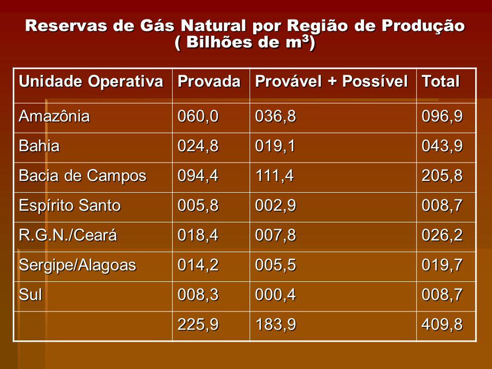 Reservas de Gás Natural por Região de Produção ( Bilhões de m 3 ) Unidade Operativa Provada Provável + Possível Total Amazônia060,0036,8096,9 Bahia024,8019,1043,9 Bacia de Campos 094,4111,4205,8 Espírito Santo 005,8002,9008,7 R.G.N./Ceará018,4007,8026,2 Sergipe/Alagoas014,2005,5019,7 Sul008,3000,4008,7 225,9183,9409,8