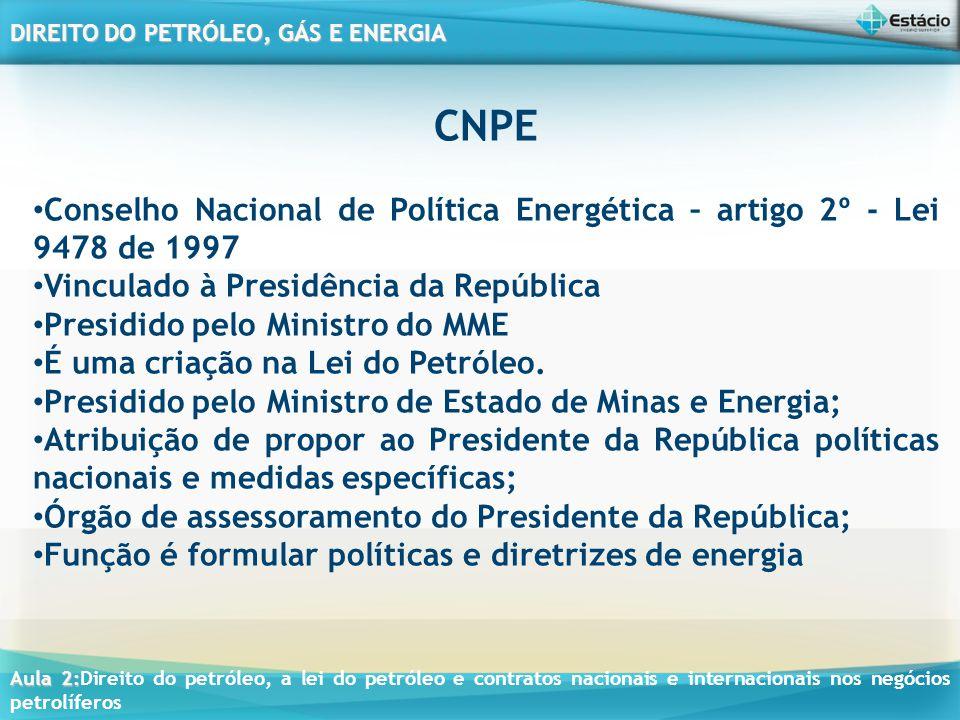 Aula 2: Aula 2:Direito do petróleo, a lei do petróleo e contratos nacionais e internacionais nos negócios petrolíferos DIREITO DO PETRÓLEO, GÁS E ENER