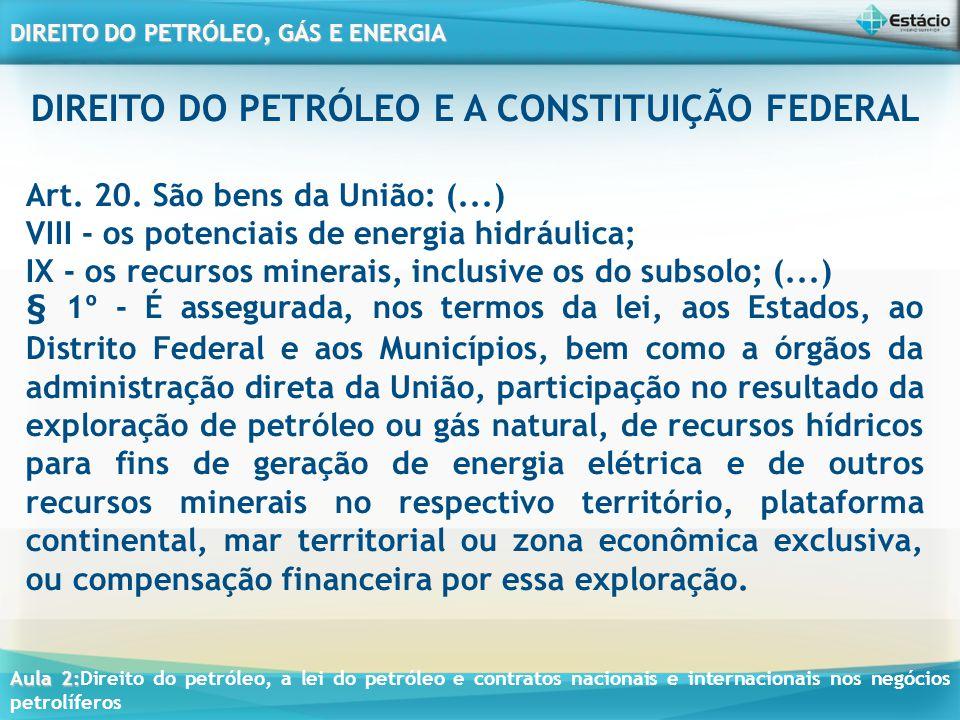 Aula 2: Aula 2:Direito do petróleo, a lei do petróleo e contratos nacionais e internacionais nos negócios petrolíferos DIREITO DO PETRÓLEO, GÁS E ENERGIA Conceituação de Direito do Petróleo e Gás É uma disciplina jurídica do ramo do direito público, que tem como principal objetivo regulamentar de forma específica o uso de bens da União Federal, ou seja, dos hidrocarbonetos ( petróleo, gás e derivados), por meio de regulamentação do tráfego e da exploração nacional em áreas marítimas e terrestres, de forma a permitir a soberania e jurisdição do Estado, que possui sua origem legal no art.20, da Constituição Federal de 1988.