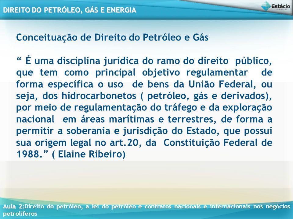 Aula 2: Aula 2:Direito do petróleo, a lei do petróleo e contratos nacionais e internacionais nos negócios petrolíferos DIREITO DO PETRÓLEO, GÁS E ENERGIA