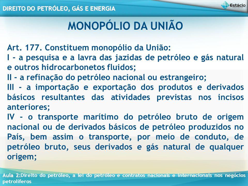 Aula 2: Aula 2:Direito do petróleo, a lei do petróleo e contratos nacionais e internacionais nos negócios petrolíferos DIREITO DO PETRÓLEO, GÁS E ENERGIA PRINCÍPIOS CONSTITUCIONAIS DO PETRÓLEO E GÁS Princípio da Soberania Nacional; Princípio da Função Social da Propriedade e Propriedade Privada; Princípio da Livre Concorrência e Livre Iniciativa; Princípio da Defesa do Consumidor e do Meio Ambiente; Princípio da Redução das Desigualdades Regionais e Sociais, da Valorização do Trabalho e Busca do Pleno Emprego; Princípio do Tratamento Favorecido para as Empresas de Pequeno Porte sob as Leis Brasileiras com Sede e Administração no País;