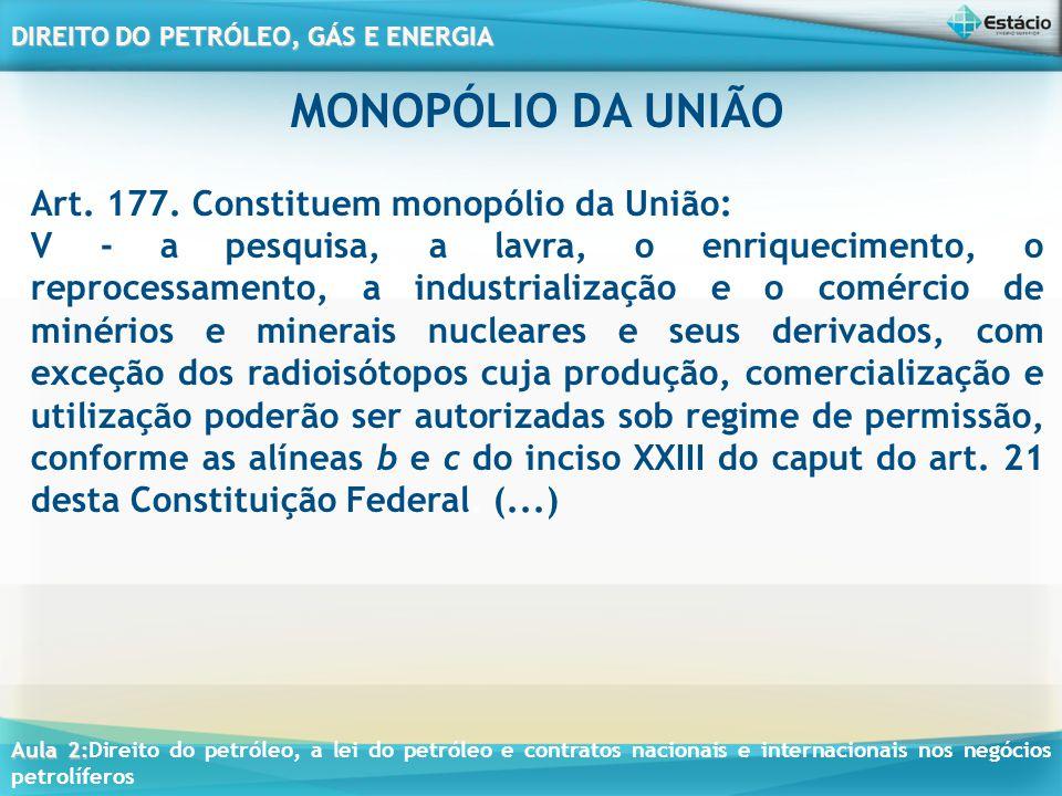Aula 2: Aula 2:Direito do petróleo, a lei do petróleo e contratos nacionais e internacionais nos negócios petrolíferos DIREITO DO PETRÓLEO, GÁS E ENERGIA ESTADO INTERVENIENTE NA INDÚSTRIA DO PETRÓLEO Recursos devem ser eficientemente alocados pelo mercado através do processo competitivo; A Petrobras até 1988 era a única na E&P; Mudanças com a EC.n° 9 e a Lei 9.478 de 06 de Agosto 1997 (Lei do Petróleo) e o desenvolvimento de fontes alternativas de energia e incentivo; Livre concorrência e a abertura dos mercados;
