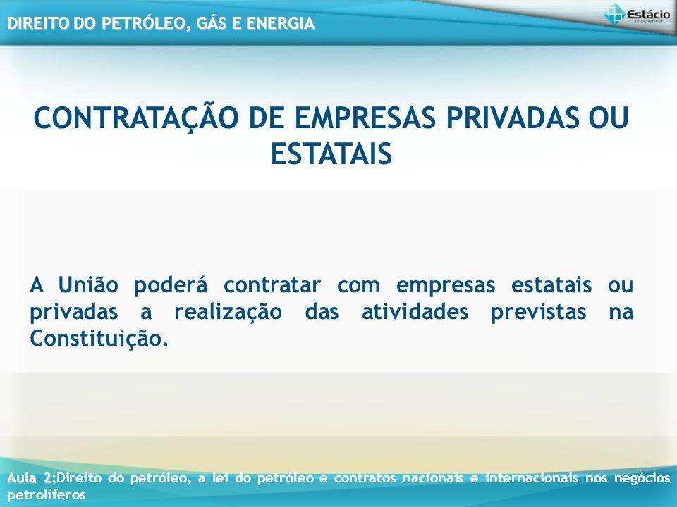 Aula 2: Aula 2:Direito do petróleo, a lei do petróleo e contratos nacionais e internacionais nos negócios petrolíferos DIREITO DO PETRÓLEO, GÁS E ENERGIA Art.