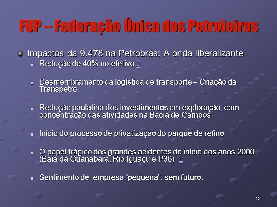13 FUP – Federação Única dos Petroleiros Impactos da 9.478 na Petrobrás: A onda liberalizante Redução de 40% no efetivo ۩ Redução de 40% no efetivo ۩۩