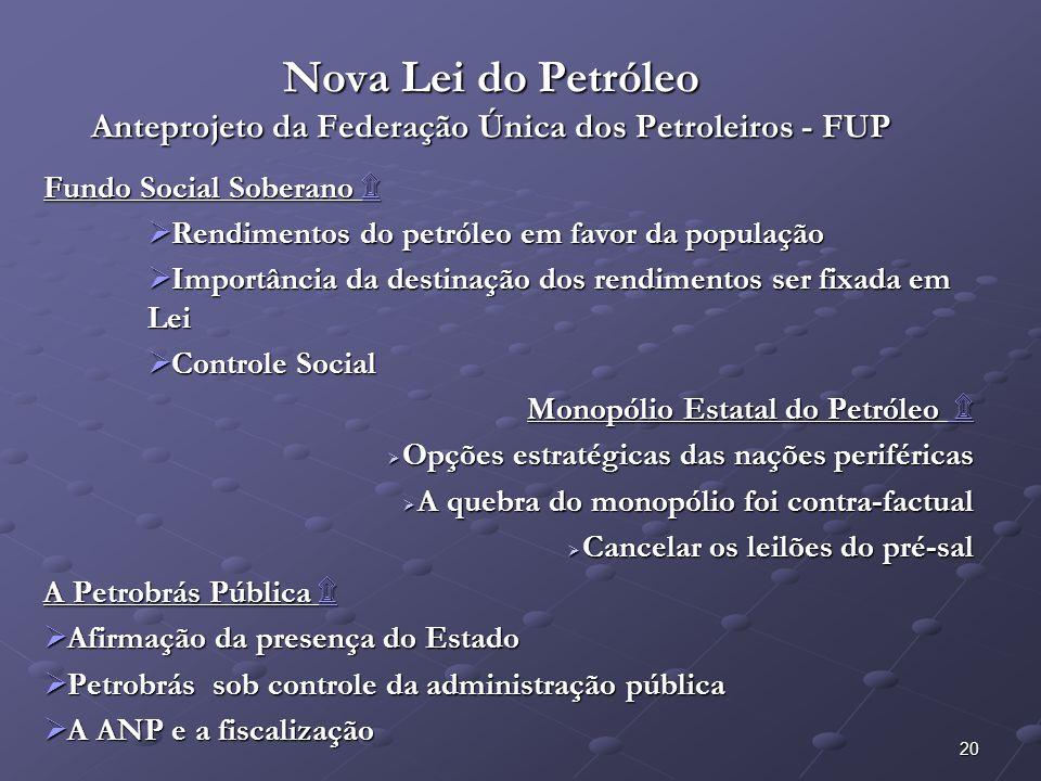 20 Nova Lei do Petróleo Anteprojeto da Federação Única dos Petroleiros - FUP Fundo Social Soberano ۩ ۩ Rendimentos do petróleo em favor da população R