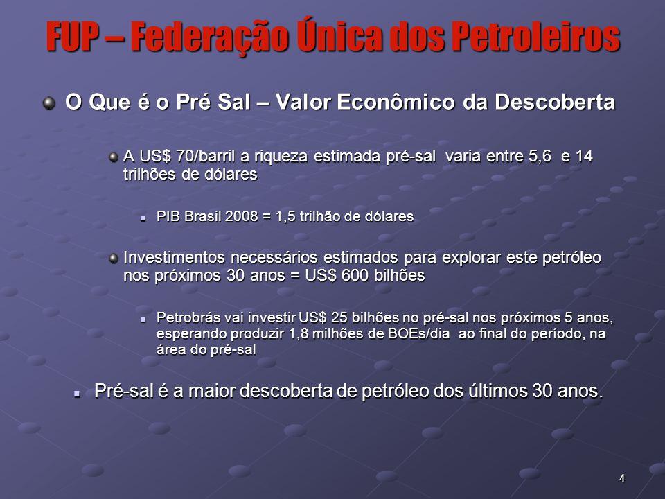 4 FUP – Federação Única dos Petroleiros O Que é o Pré Sal – Valor Econômico da Descoberta A US$ 70/barril a riqueza estimada pré-sal varia entre 5,6 e