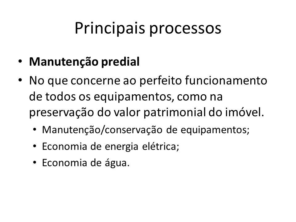 Principais processos Manutenção predial No que concerne ao perfeito funcionamento de todos os equipamentos, como na preservação do valor patrimonial do imóvel.