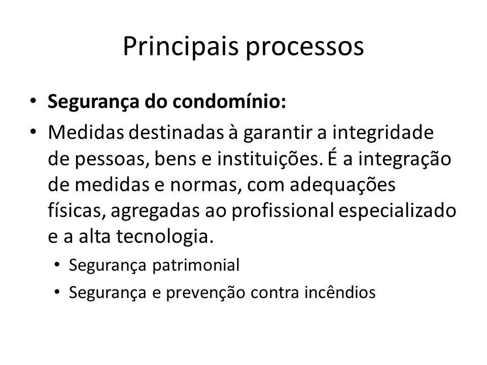 Principais processos Segurança do condomínio: Medidas destinadas à garantir a integridade de pessoas, bens e instituições. É a integração de medidas e