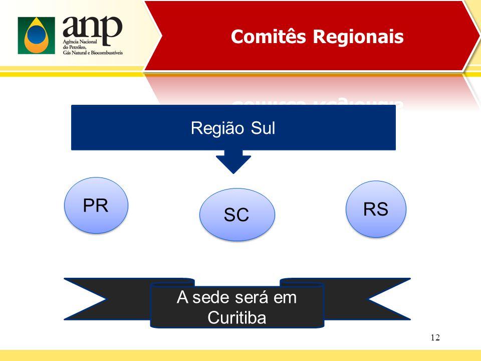 12 Região Sul PR SC A sede será em Curitiba RS