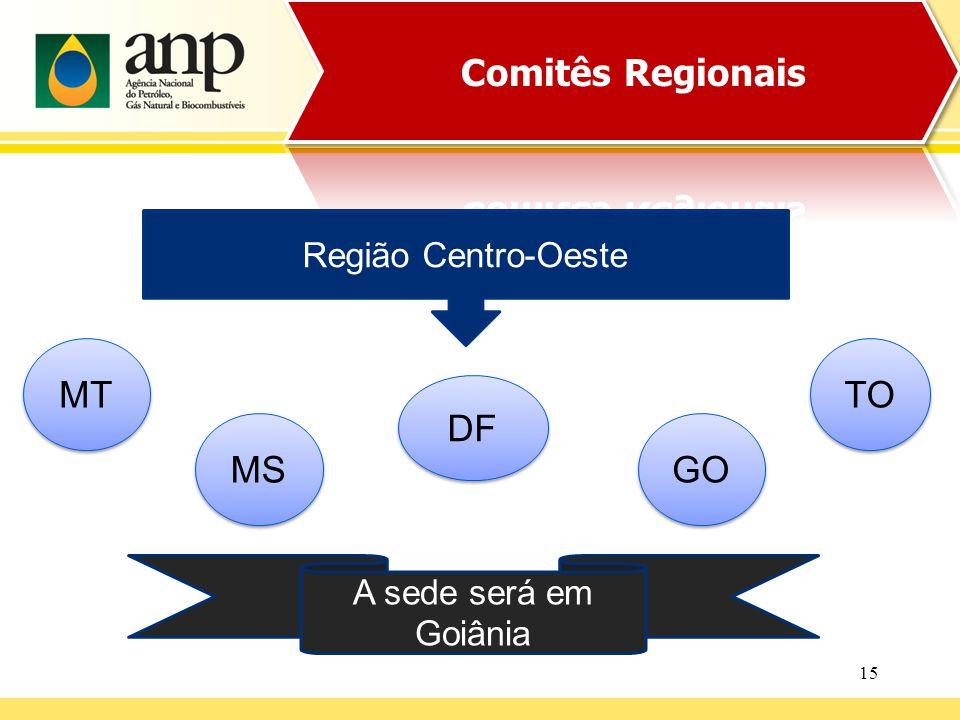 15 Região Centro-Oeste MS DF A sede será em Goiânia TO MT GO