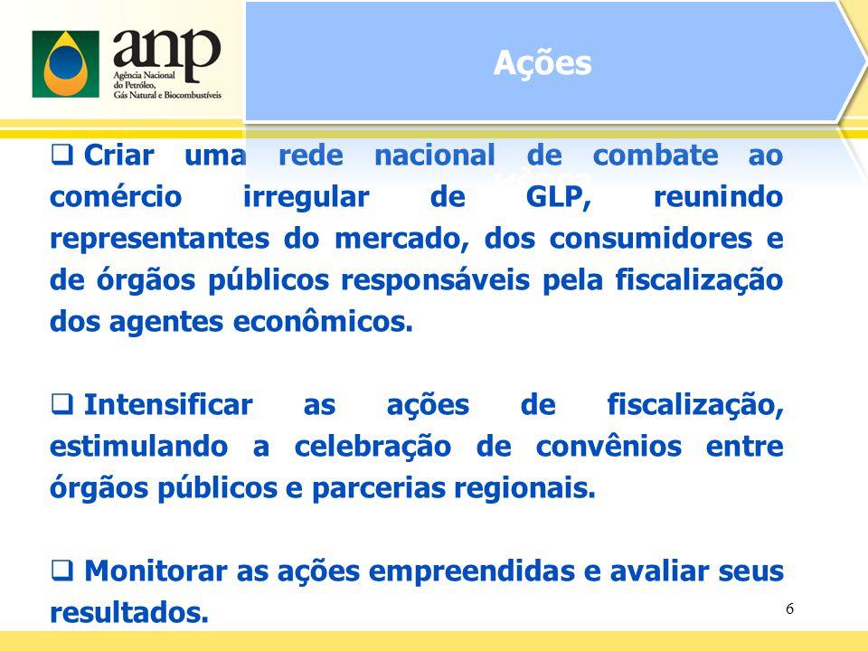 6 Criar uma rede nacional de combate ao comércio irregular de GLP, reunindo representantes do mercado, dos consumidores e de órgãos públicos responsáveis pela fiscalização dos agentes econômicos.