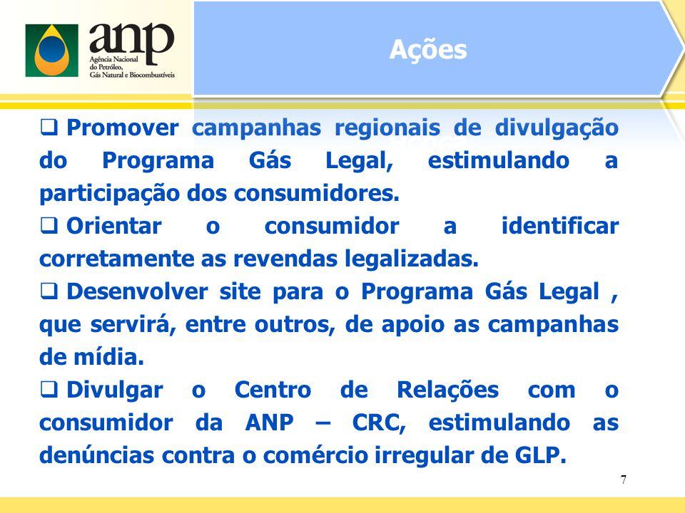 7 Promover campanhas regionais de divulgação do Programa Gás Legal, estimulando a participação dos consumidores. Orientar o consumidor a identificar c