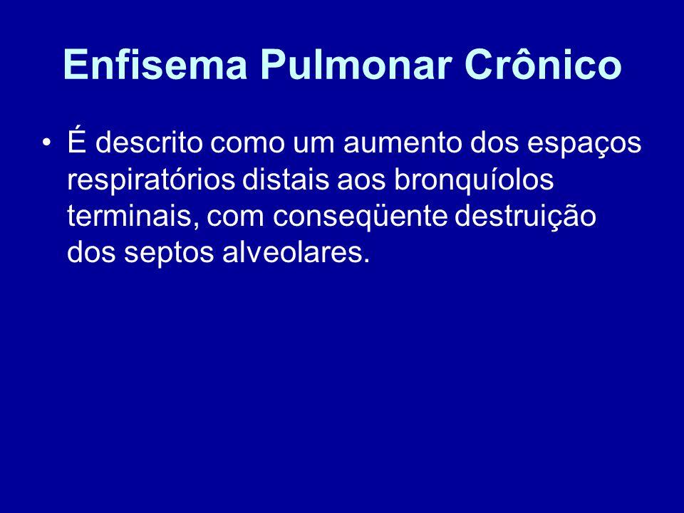 Enfisema Pulmonar Crônico É descrito como um aumento dos espaços respiratórios distais aos bronquíolos terminais, com conseqüente destruição dos septo