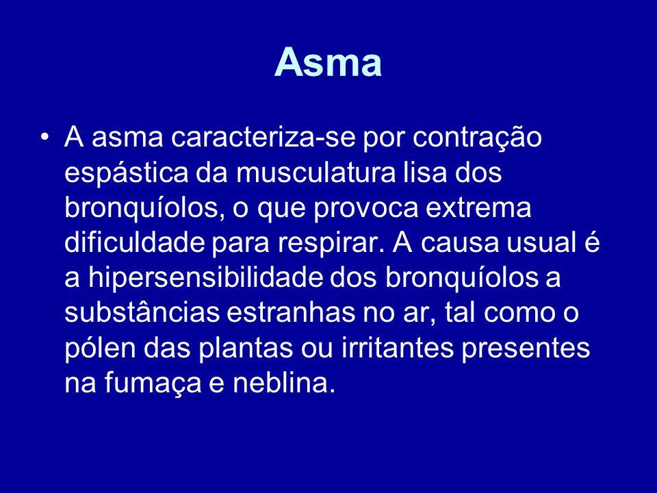 Asma A asma caracteriza-se por contração espástica da musculatura lisa dos bronquíolos, o que provoca extrema dificuldade para respirar. A causa usual