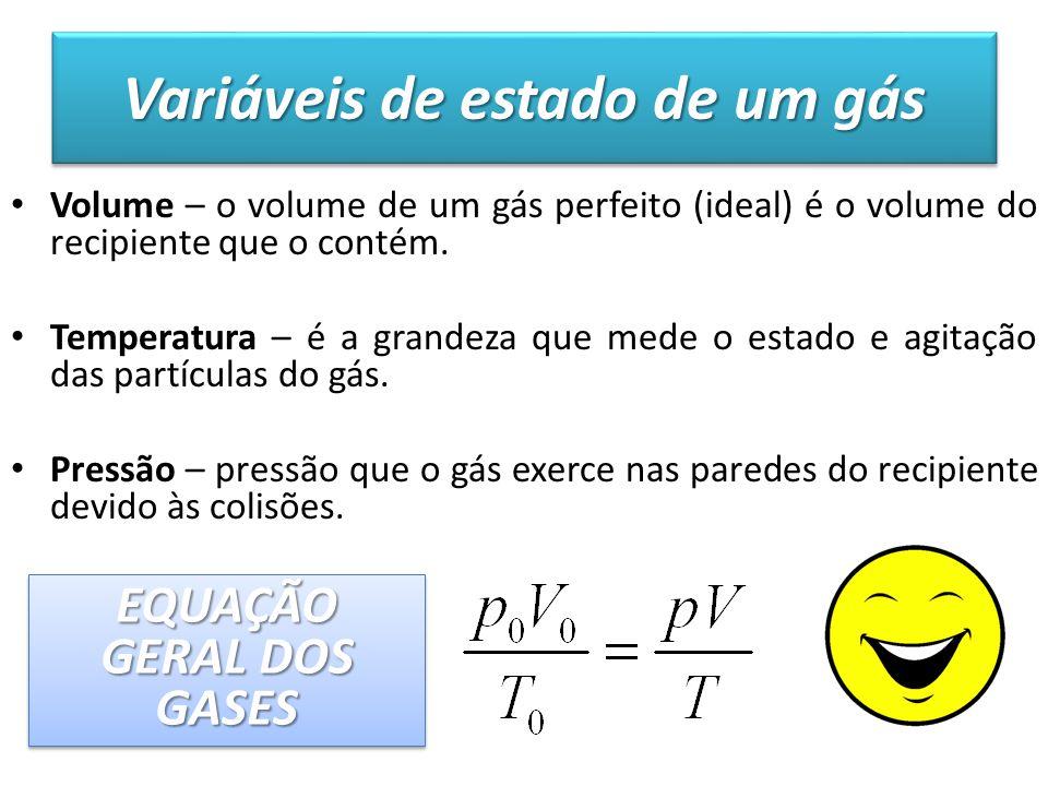 Variáveis de estado de um gás Volume – o volume de um gás perfeito (ideal) é o volume do recipiente que o contém. Temperatura – é a grandeza que mede