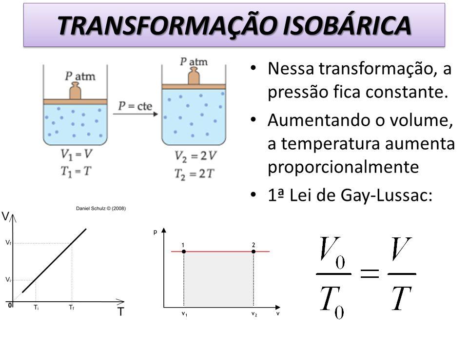 Nessa transformação, a pressão fica constante. Aumentando o volume, a temperatura aumenta proporcionalmente 1ª Lei de Gay-Lussac: TRANSFORMAÇÃO ISOBÁR