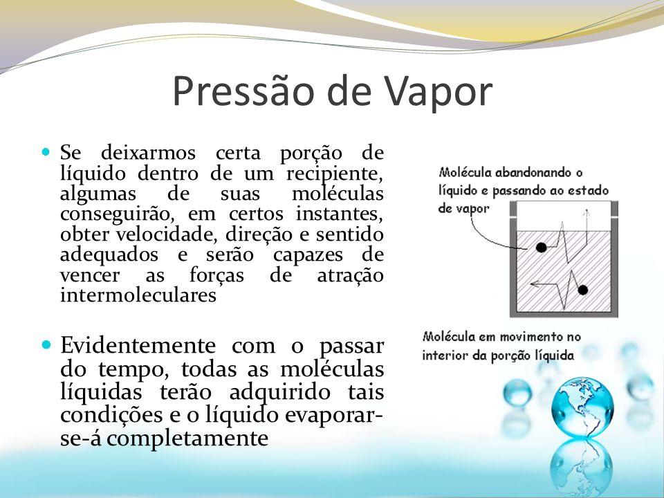 Pressão de Vapor Se deixarmos certa porção de líquido dentro de um recipiente, algumas de suas moléculas conseguirão, em certos instantes, obter veloc